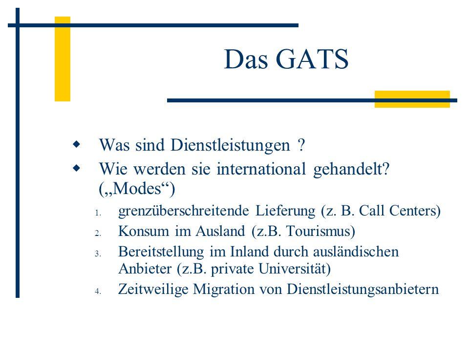 Das GATS Was sind Dienstleistungen ? Wie werden sie international gehandelt? (Modes) 1. grenzüberschreitende Lieferung (z. B. Call Centers) 2. Konsum