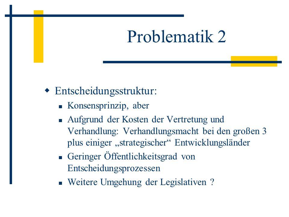 Problematik 2 Entscheidungsstruktur: Konsensprinzip, aber Aufgrund der Kosten der Vertretung und Verhandlung: Verhandlungsmacht bei den großen 3 plus