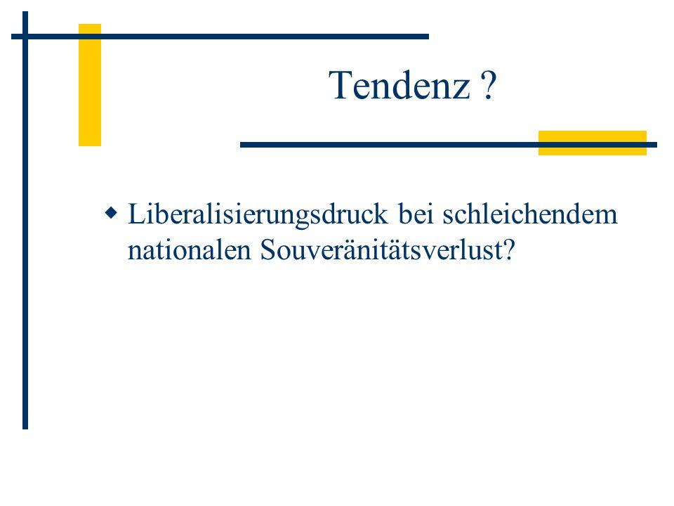 Tendenz ? Liberalisierungsdruck bei schleichendem nationalen Souveränitätsverlust?