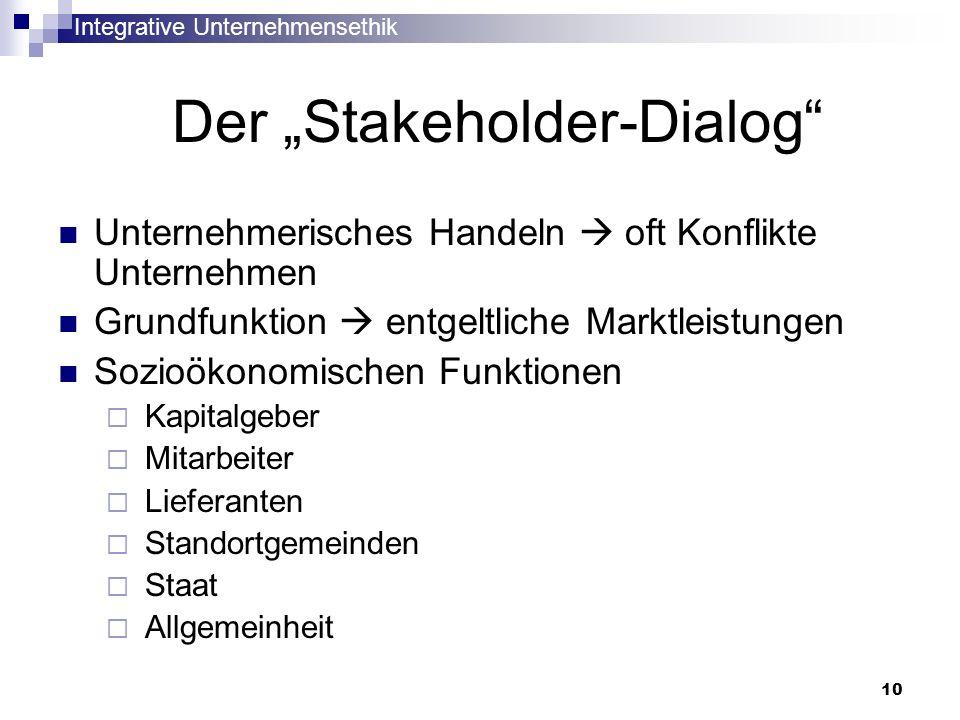 Integrative Unternehmensethik 10 Der Stakeholder-Dialog Unternehmerisches Handeln oft Konflikte Unternehmen Grundfunktion entgeltliche Marktleistungen