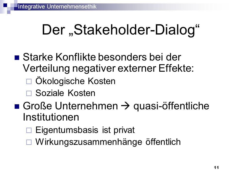 Integrative Unternehmensethik 11 Der Stakeholder-Dialog Starke Konflikte besonders bei der Verteilung negativer externer Effekte: Ökologische Kosten S