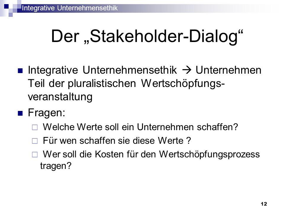 Integrative Unternehmensethik 12 Der Stakeholder-Dialog Integrative Unternehmensethik Unternehmen Teil der pluralistischen Wertschöpfungs- veranstaltu