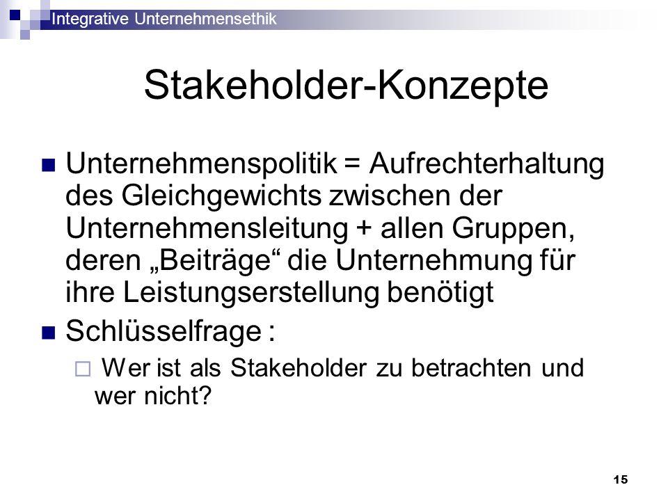 Integrative Unternehmensethik 15 Stakeholder-Konzepte Unternehmenspolitik = Aufrechterhaltung des Gleichgewichts zwischen der Unternehmensleitung + al