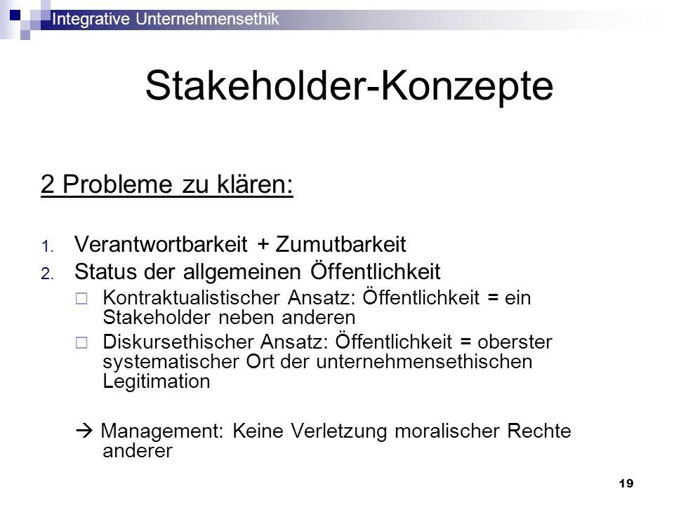 Integrative Unternehmensethik 19 Stakeholder-Konzepte 2 Probleme zu klären: 1. Verantwortbarkeit + Zumutbarkeit 2. Status der allgemeinen Öffentlichke
