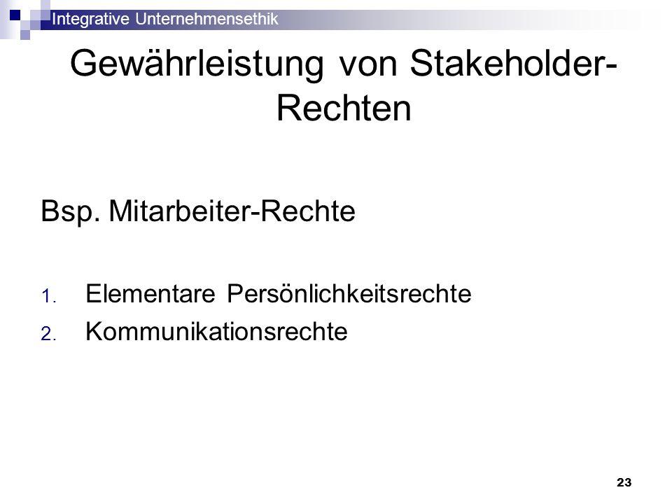 Integrative Unternehmensethik 23 Gewährleistung von Stakeholder- Rechten Bsp. Mitarbeiter-Rechte 1. Elementare Persönlichkeitsrechte 2. Kommunikations