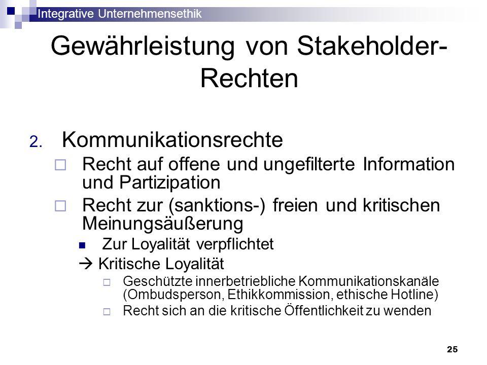 Integrative Unternehmensethik 25 Gewährleistung von Stakeholder- Rechten 2. Kommunikationsrechte Recht auf offene und ungefilterte Information und Par