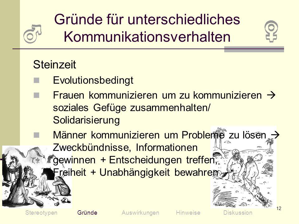 12 Steinzeit Evolutionsbedingt Frauen kommunizieren um zu kommunizieren soziales Gefüge zusammenhalten/ Solidarisierung Männer kommunizieren um Proble