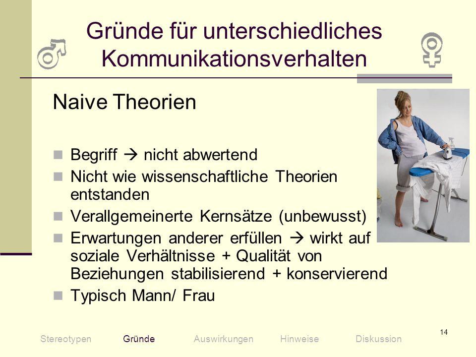 14 Gründe für unterschiedliches Kommunikationsverhalten Naive Theorien Begriff nicht abwertend Nicht wie wissenschaftliche Theorien entstanden Verallg