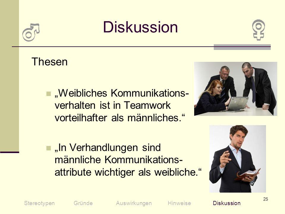 25 Diskussion Thesen Weibliches Kommunikations- verhalten ist in Teamwork vorteilhafter als männliches. In Verhandlungen sind männliche Kommunikations