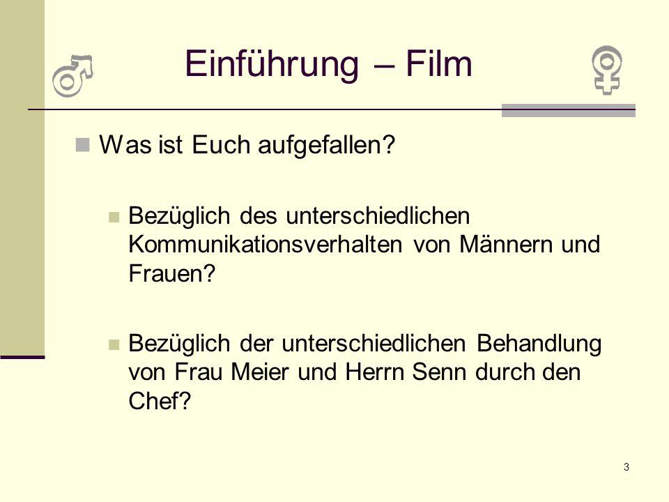 3 Einführung – Film Was ist Euch aufgefallen? Bezüglich des unterschiedlichen Kommunikationsverhalten von Männern und Frauen? Bezüglich der unterschie
