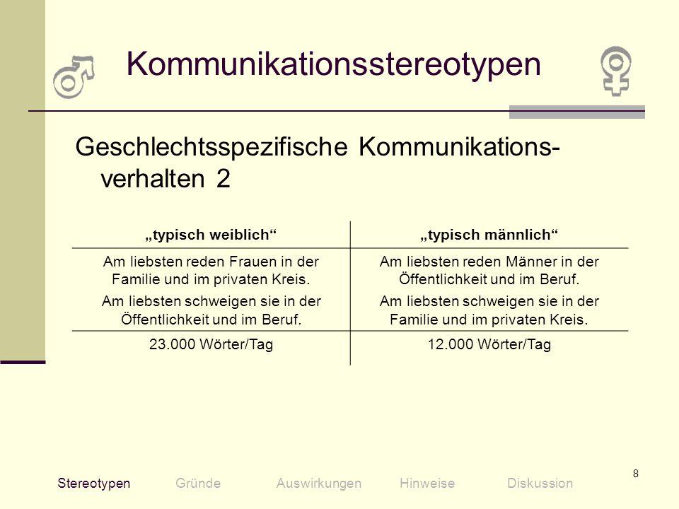 8 Kommunikationsstereotypen Geschlechtsspezifische Kommunikations- verhalten 2 StereotypenGründeAuswirkungenHinweiseDiskussion typisch weiblichtypisch