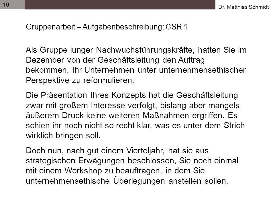 Dr. Matthias Schmidt 10 Gruppenarbeit – Aufgabenbeschreibung: CSR 1 Als Gruppe junger Nachwuchsführungskräfte, hatten Sie im Dezember von der Geschäft