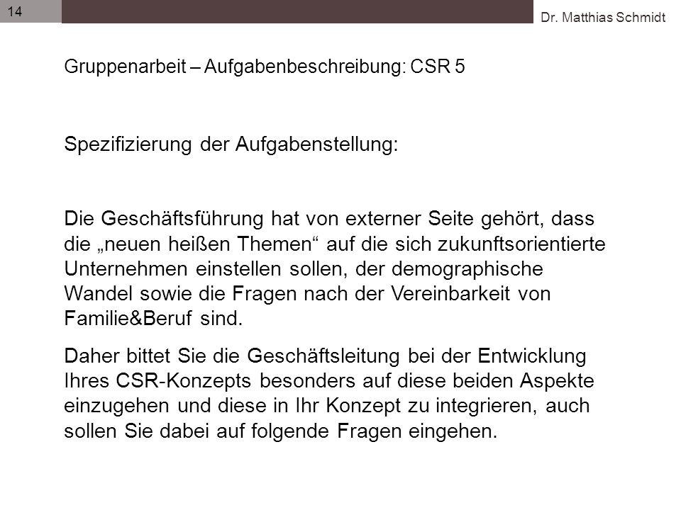 Dr. Matthias Schmidt 14 Gruppenarbeit – Aufgabenbeschreibung: CSR 5 Spezifizierung der Aufgabenstellung: Die Geschäftsführung hat von externer Seite g