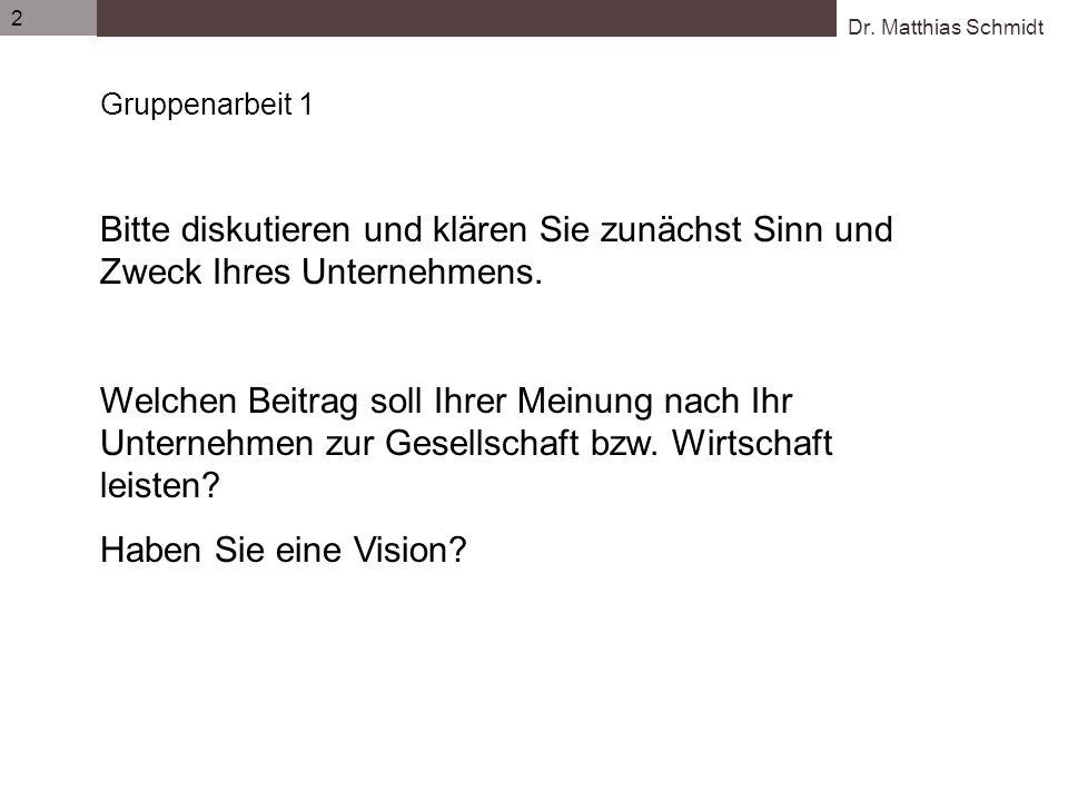 Dr. Matthias Schmidt 2 Gruppenarbeit 1 Bitte diskutieren und klären Sie zunächst Sinn und Zweck Ihres Unternehmens. Welchen Beitrag soll Ihrer Meinung