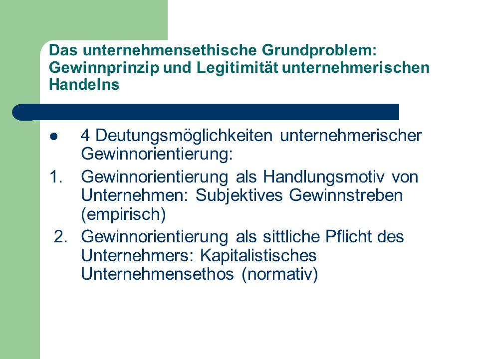 Das unternehmensethische Grundproblem: Gewinnprinzip und Legitimität unternehmerischen Handelns 4 Deutungsmöglichkeiten unternehmerischer Gewinnorient