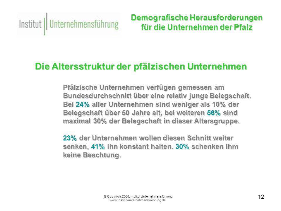 12 Demografische Herausforderungen für die Unternehmen der Pfalz © Copyright 2006, Institut Unternehmensführung www.institut-unternehmensfuehrung.de Die Altersstruktur der pfälzischen Unternehmen Pfälzische Unternehmen verfügen gemessen am Bundesdurchschnitt über eine relativ junge Belegschaft.