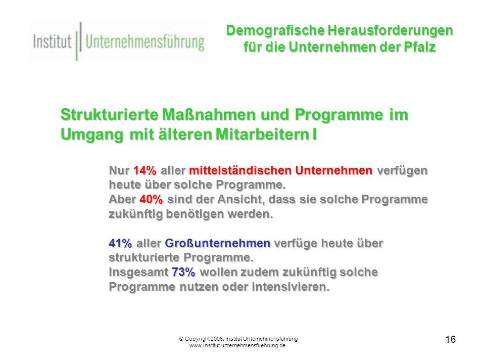 16 Demografische Herausforderungen für die Unternehmen der Pfalz © Copyright 2006, Institut Unternehmensführung www.institut-unternehmensfuehrung.de Strukturierte Maßnahmen und Programme im Umgang mit älteren Mitarbeitern I Nur 14% aller mittelständischen Unternehmen verfügen heute über solche Programme.