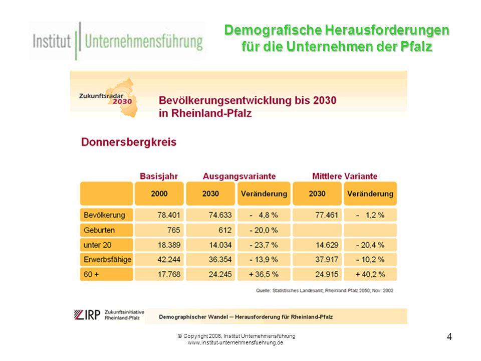 15 Demografische Herausforderungen für die Unternehmen der Pfalz © Copyright 2006, Institut Unternehmensführung www.institut-unternehmensfuehrung.de Ältere Mitarbeiter aus Unternehmenssicht III Die Unternehmen stellen älteren Mitarbeitern ein besonders positives Zeugnis aus.
