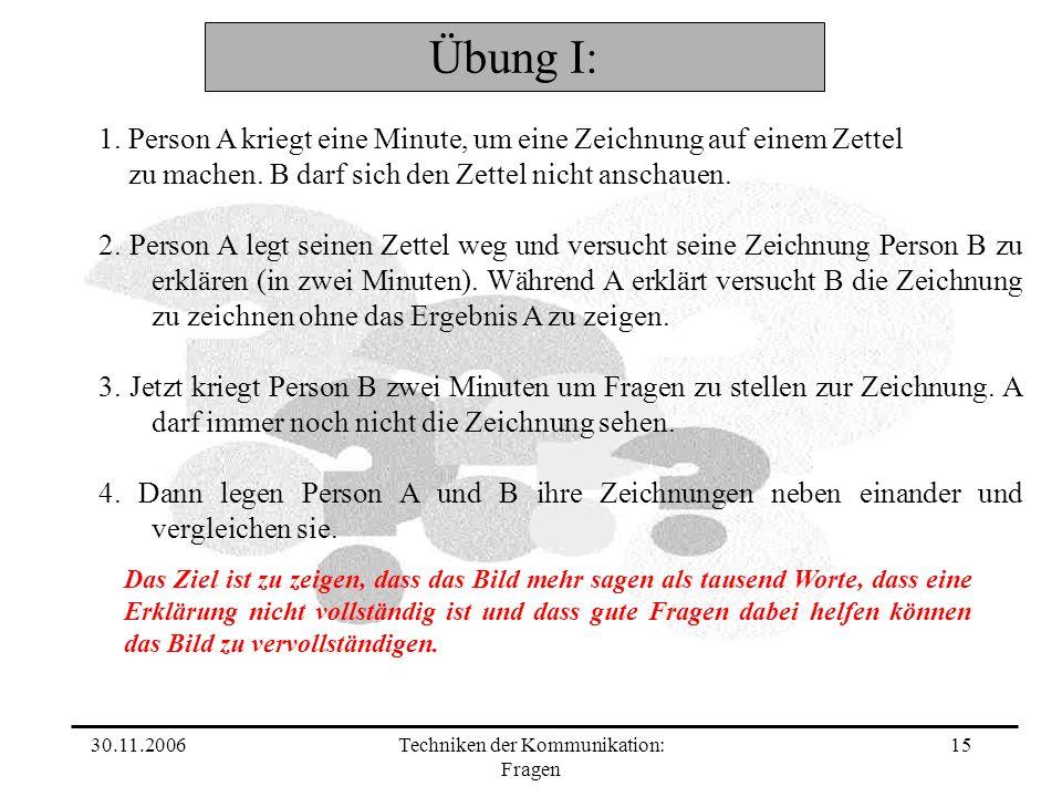 30.11.2006Techniken der Kommunikation: Fragen 15 Übung I: 1.