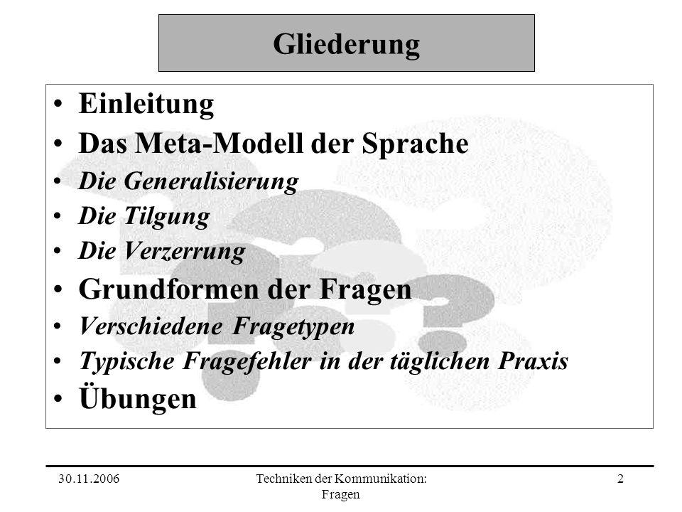 30.11.2006Techniken der Kommunikation: Fragen 2 Gliederung Einleitung Das Meta-Modell der Sprache Die Generalisierung Die Tilgung Die Verzerrung Grund