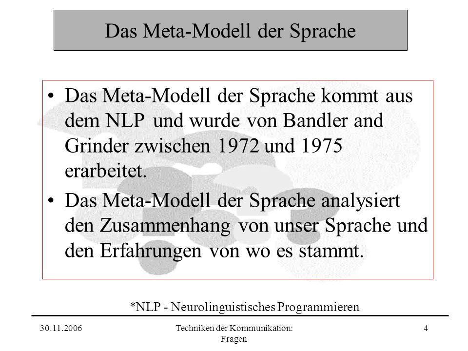 30.11.2006Techniken der Kommunikation: Fragen 4 Das Meta-Modell der Sprache Das Meta-Modell der Sprache kommt aus dem NLP und wurde von Bandler and Grinder zwischen 1972 und 1975 erarbeitet.