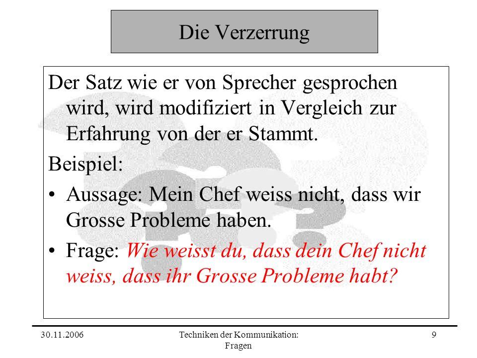 30.11.2006Techniken der Kommunikation: Fragen 9 Die Verzerrung Der Satz wie er von Sprecher gesprochen wird, wird modifiziert in Vergleich zur Erfahrung von der er Stammt.