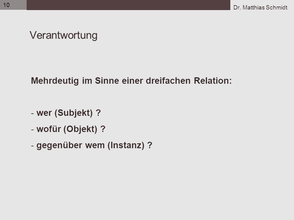 Dr. Matthias Schmidt 10 Verantwortung Mehrdeutig im Sinne einer dreifachen Relation: - wer (Subjekt) ? - wofür (Objekt) ? - gegenüber wem (Instanz) ?