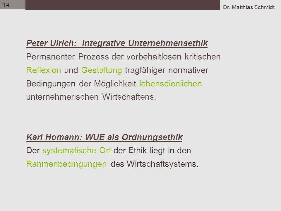 Dr. Matthias Schmidt 14 Peter Ulrich: Integrative Unternehmensethik Permanenter Prozess der vorbehaltlosen kritischen Reflexion und Gestaltung tragfäh