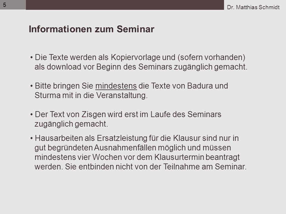Dr. Matthias Schmidt 5 Informationen zum Seminar Die Texte werden als Kopiervorlage und (sofern vorhanden) als download vor Beginn des Seminars zugäng