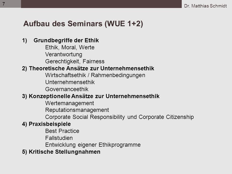 Dr. Matthias Schmidt 7 Aufbau des Seminars (WUE 1+2) 1)Grundbegriffe der Ethik Ethik, Moral, Werte Verantwortung Gerechtigkeit, Fairness 2) Theoretisc