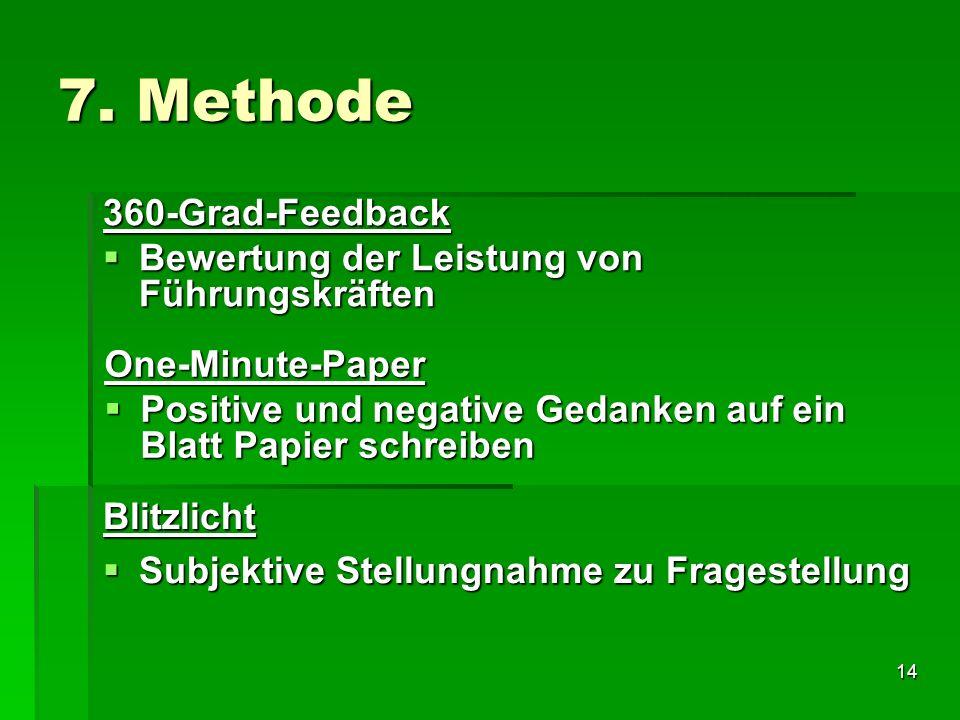 14 7. Methode 360-Grad-Feedback Bewertung der Leistung von Führungskräften Bewertung der Leistung von Führungskräften One-Minute-Paper Positive und ne