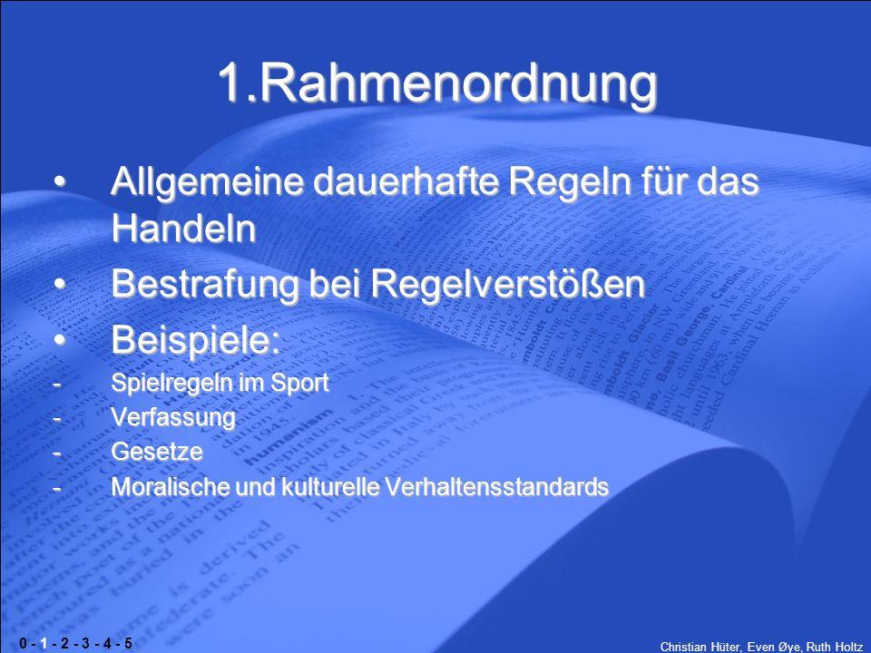 Christian Hüter, Even Øye, Ruth Holtz 1.Rahmenordnung Allgemeine dauerhafte Regeln für das HandelnAllgemeine dauerhafte Regeln für das Handeln Bestraf