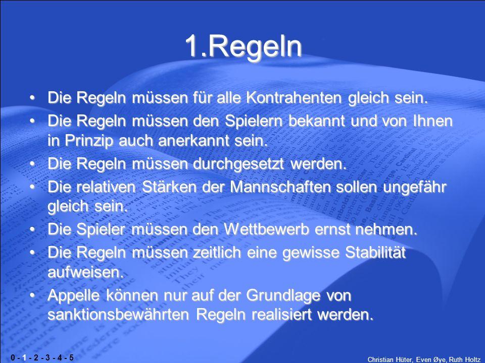 Christian Hüter, Even Øye, Ruth Holtz 1.Regeln Die Regeln müssen für alle Kontrahenten gleich sein.Die Regeln müssen für alle Kontrahenten gleich sein