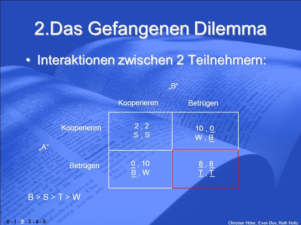 Christian Hüter, Even Øye, Ruth Holtz 2.Das Gefangenen Dilemma Interaktionen zwischen 2 Teilnehmern:Interaktionen zwischen 2 Teilnehmern: B A Kooperie