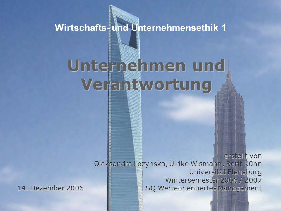 erstellt von Oleksandra Lozynska, Ulrike Wismann, Berit Kühn Universität Flensburg Wintersemester 2006 / 2007 14.
