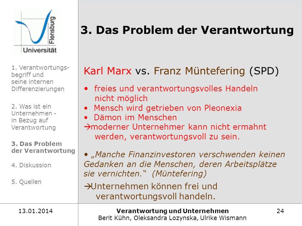 Verantwortung und Unternehmen Berit Kühn, Oleksandra Lozynska, Ulrike Wismann 2413.01.2014 Karl Marx vs. Franz Müntefering (SPD) freies und verantwort