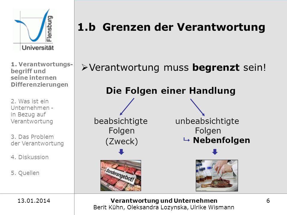 Verantwortung und Unternehmen Berit Kühn, Oleksandra Lozynska, Ulrike Wismann 613.01.2014 1.