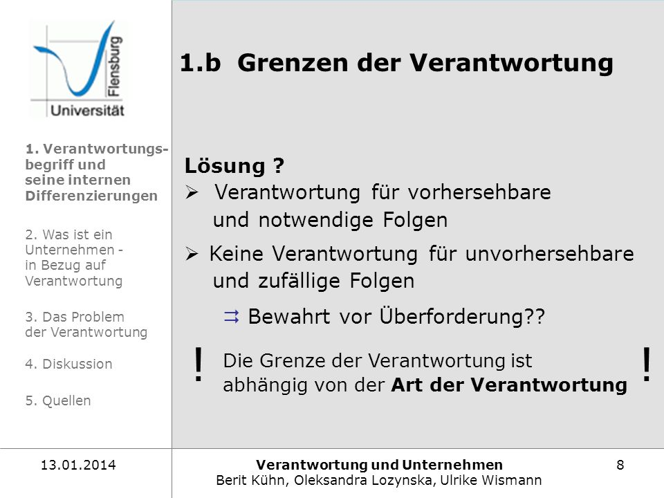 Verantwortung und Unternehmen Berit Kühn, Oleksandra Lozynska, Ulrike Wismann 813.01.2014 1.