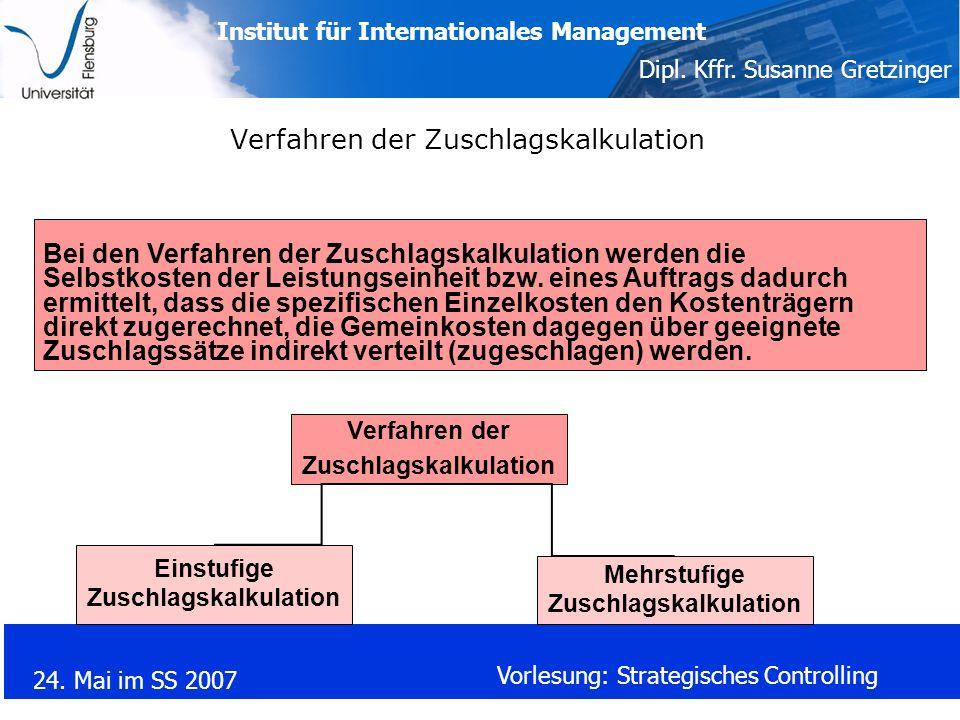 Institut für Internationales Management Dipl. Kffr. Susanne Gretzinger 24. Mai im SS 2007 Vorlesung: Strategisches Controlling Verfahren der Zuschlags