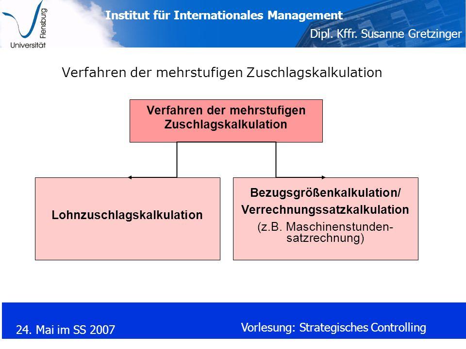 Institut für Internationales Management Dipl. Kffr. Susanne Gretzinger 24. Mai im SS 2007 Vorlesung: Strategisches Controlling Verfahren der mehrstufi