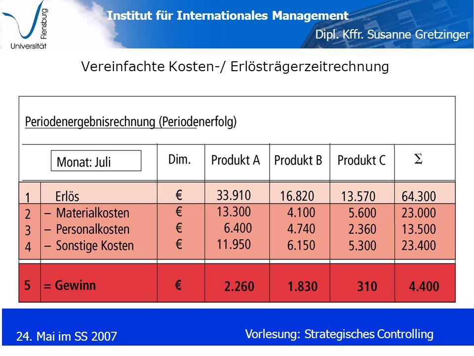 Institut für Internationales Management Dipl. Kffr. Susanne Gretzinger 24. Mai im SS 2007 Vorlesung: Strategisches Controlling Vereinfachte Kosten-/ E