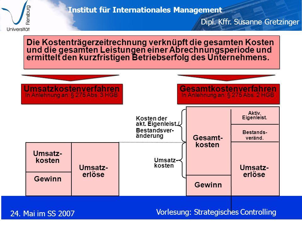 Institut für Internationales Management Dipl. Kffr. Susanne Gretzinger 24. Mai im SS 2007 Vorlesung: Strategisches Controlling Die Kostenträgerzeitrec