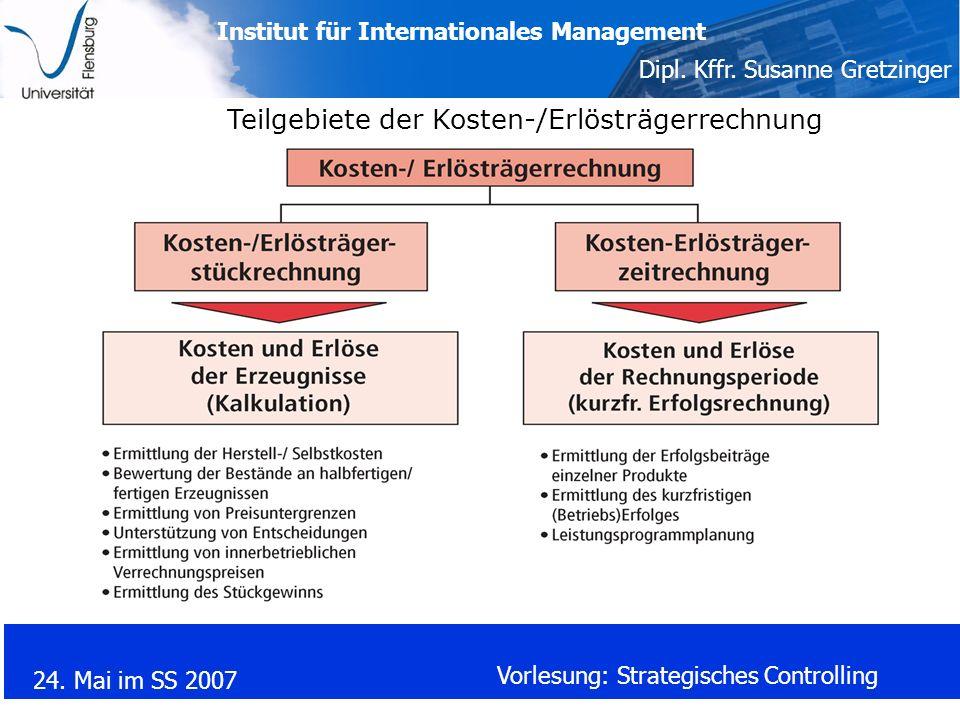 Institut für Internationales Management Dipl. Kffr. Susanne Gretzinger 24. Mai im SS 2007 Vorlesung: Strategisches Controlling Teilgebiete der Kosten-