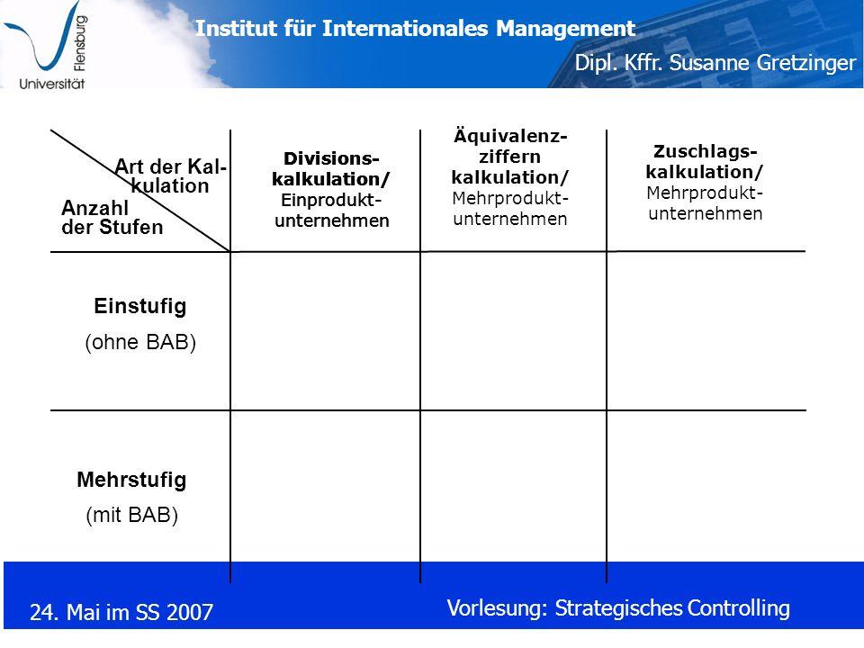 Institut für Internationales Management Dipl. Kffr. Susanne Gretzinger 24. Mai im SS 2007 Vorlesung: Strategisches Controlling Anzahl der Stufen Art d
