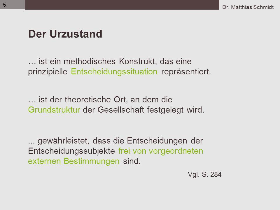 Dr. Matthias Schmidt 5 Der Urzustand … ist ein methodisches Konstrukt, das eine prinzipielle Entscheidungssituation repräsentiert. … ist der theoretis