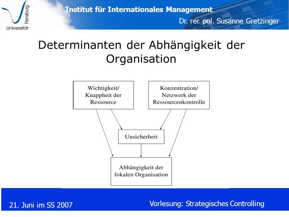 Institut für Internationales Management Dr. rer. pol. Susanne Gretzinger 21. Juni im SS 2007 Vorlesung: Strategisches Controlling Determinanten der Ab
