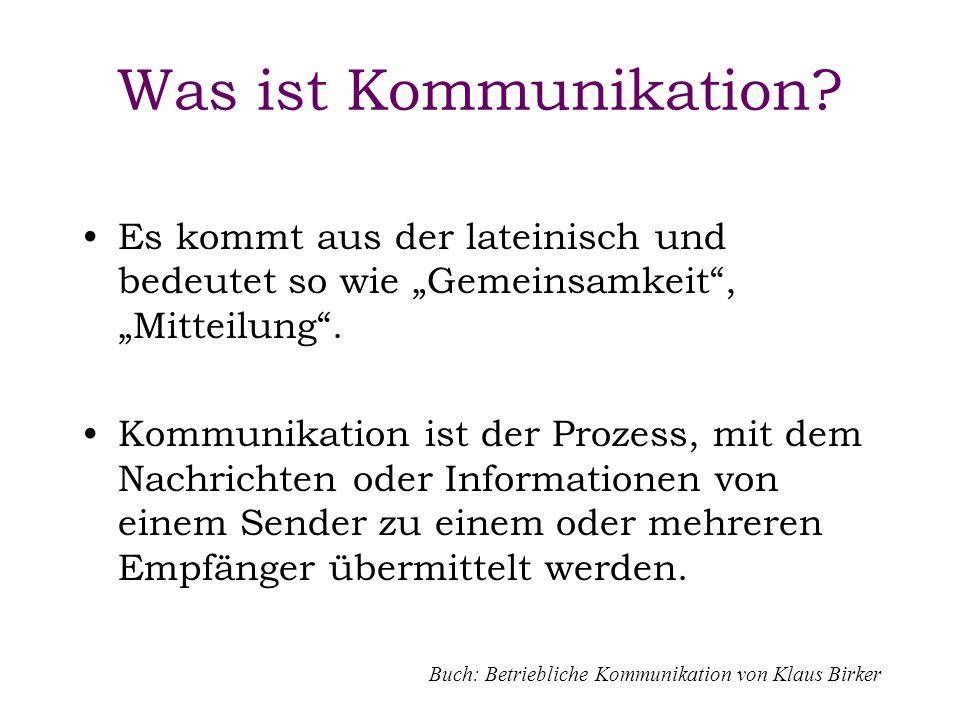 Was ist Kommunikation? Es kommt aus der lateinisch und bedeutet so wie Gemeinsamkeit, Mitteilung. Kommunikation ist der Prozess, mit dem Nachrichten o
