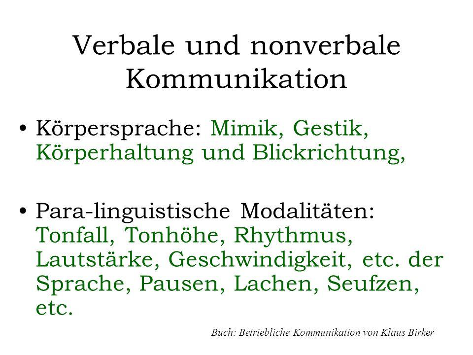 Verbale und nonverbale Kommunikation Körpersprache: Mimik, Gestik, Körperhaltung und Blickrichtung, Para-linguistische Modalitäten: Tonfall, Tonhöhe,