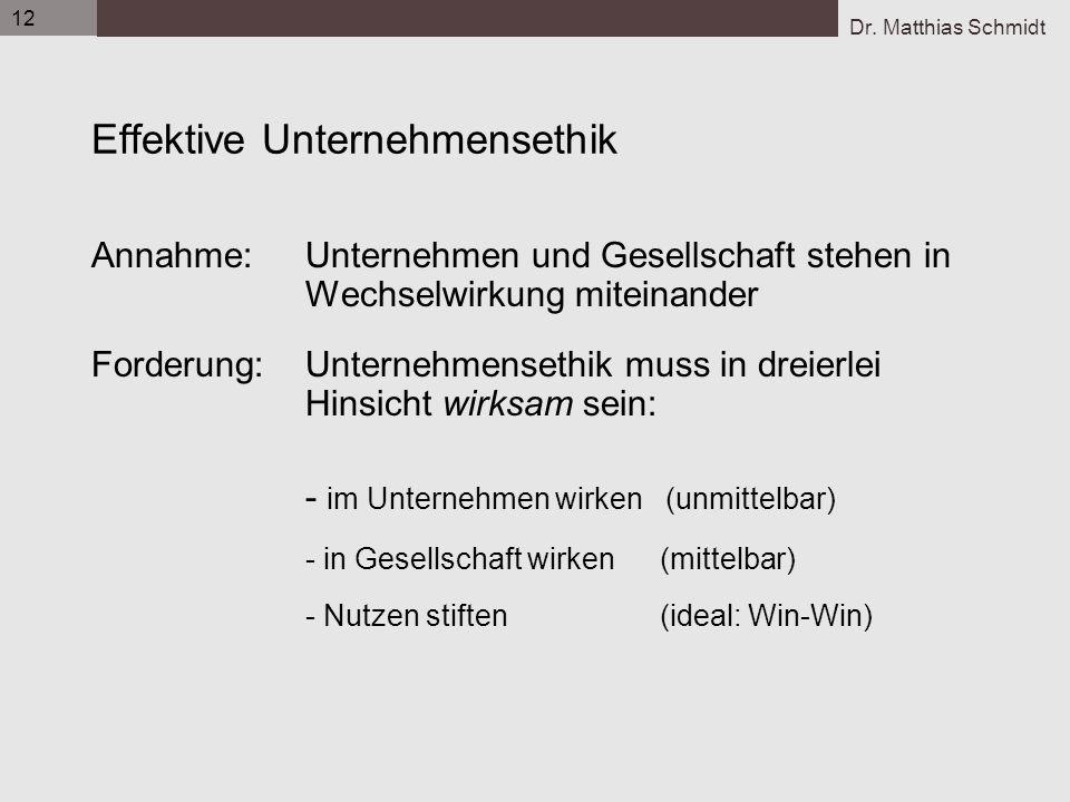 Dr. Matthias Schmidt 12 Effektive Unternehmensethik Annahme: Unternehmen und Gesellschaft stehen in Wechselwirkung miteinander Forderung: Unternehmens