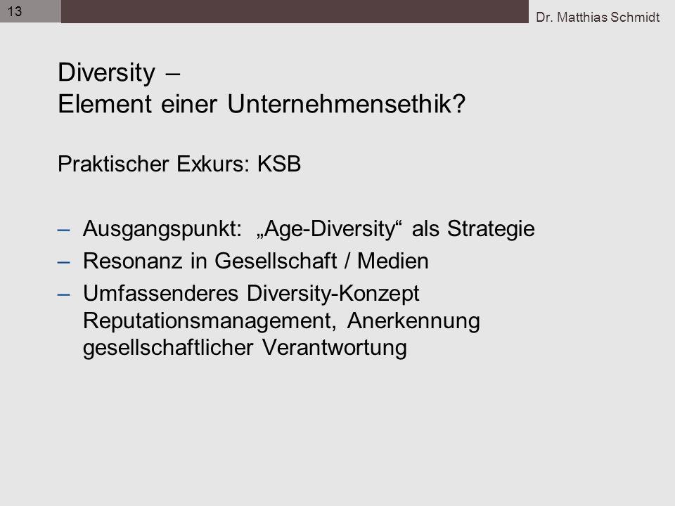 Dr. Matthias Schmidt 13 Diversity – Element einer Unternehmensethik? Praktischer Exkurs: KSB –Ausgangspunkt: Age-Diversity als Strategie –Resonanz in